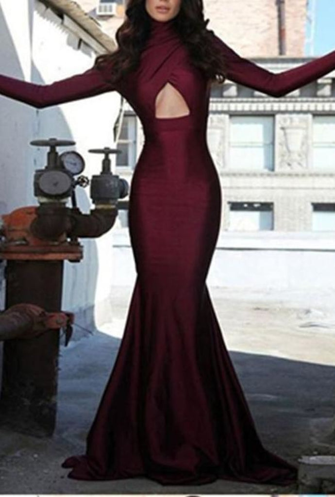 Elegant Burgundy Long Sleeves High Neck Cut Out Mermaid Prom Dress Dresses