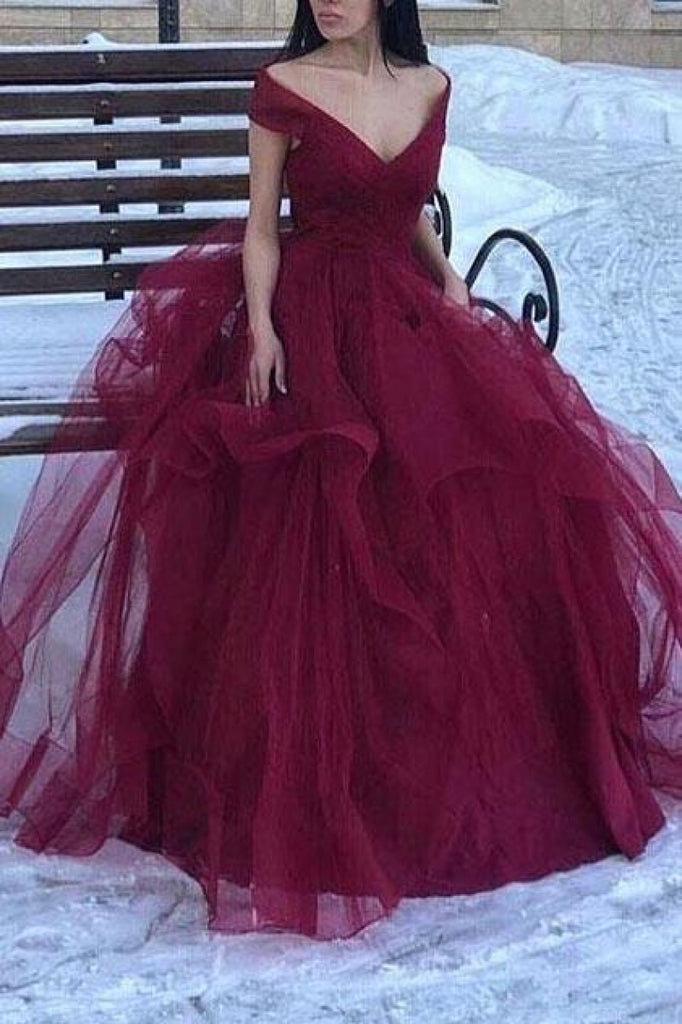 Elegant Burgundy Off-The-Shoulder Tulle A-Line Prom Dress Dresses