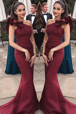 Elegant Burgundy One Shoulder Evening Formal Dresses