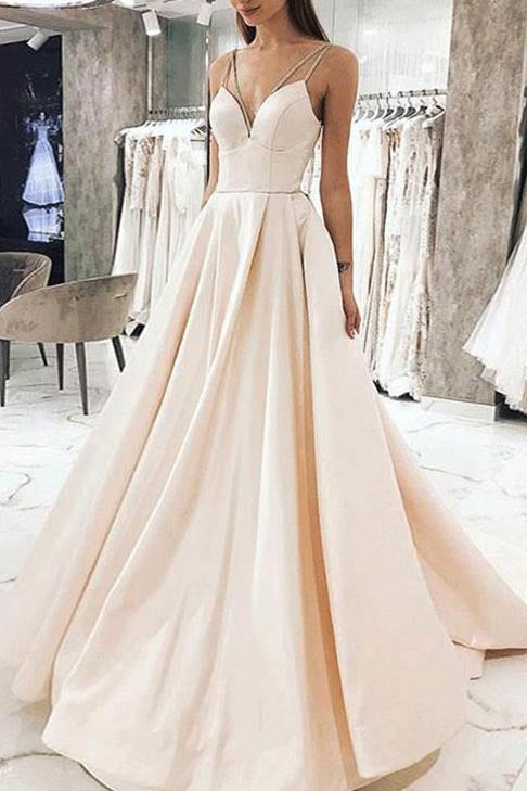 Elegant Champagne A-line V-neck Spaghetti Straps Evening Prom Dress