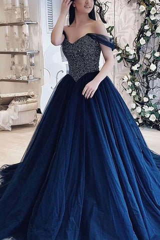 Elegant Dark Navy Off The Shoulder Backless Beaded Evening Ball Gown