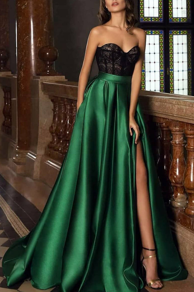 Elegant Strapless A-line Sweetheart Lace Slit Evening Prom Dress