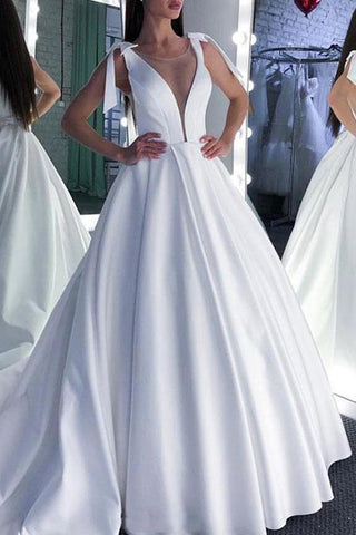 Elegant White A-line Evening Ball Gown