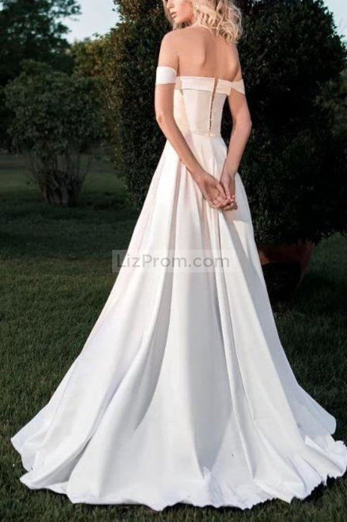Elegant White Backless Off The Shoulder Long A-Line Wedding Dress Dresses