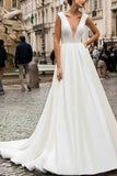 Elegant White Deep V-neck A-line Cap Sleeves Prom Dress