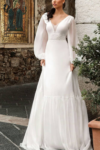Elegant White Long Sleeves V-neck Lace A-line Prom Dress