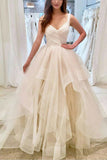Elegant Ivory V-neck Sleeveless Ruffled Evening Long Ball Gown.