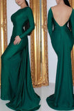 Dark Green Backless Mermaid Long Sleeves Evening Prom dress