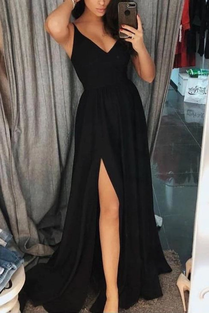 Black V-Neck Thigh-high Slit Prom Dress
