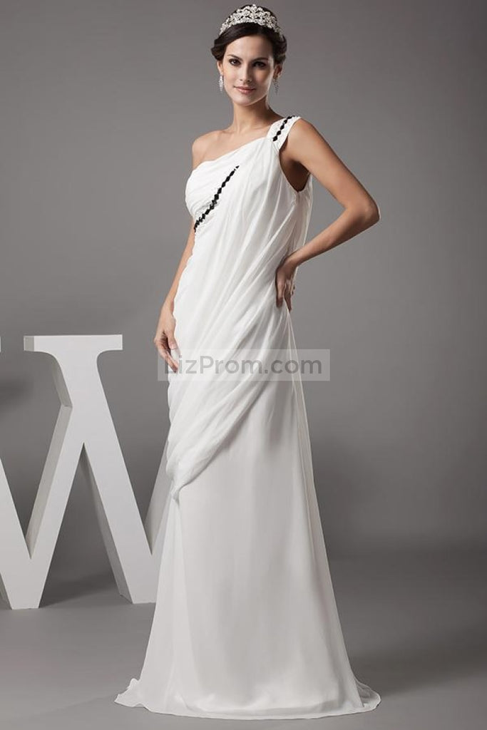 Floor Length One Shoulder Beaded Evening Dress Formal Gown