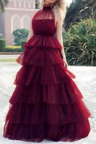 Floor Length Burgundy Tulle Formal Gown Evening Dress