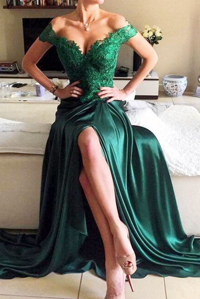Dark Green Off the Shoulder Appliques Evening Gown Prom Formal Dresses