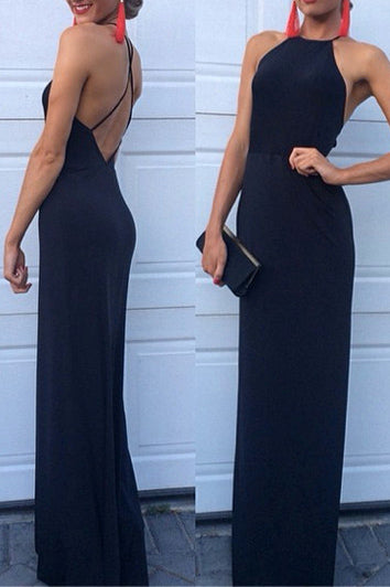 Navy Blue Criss Cross Straps Sheath/Column Backless Evening Dress