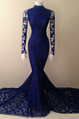 Navy Blue Mermaid Lace Long Sleeves High Neck Prom Evening Dress