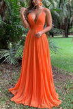 Floor Length Orange Backless Evening Dress Prom Gown 0 Dresses