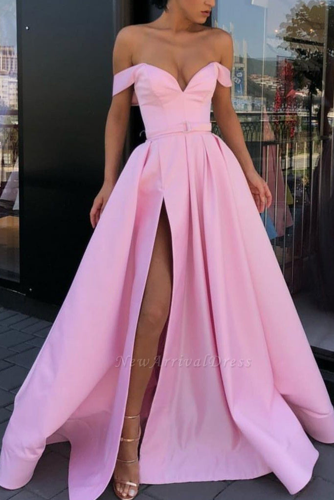 Floor Length Off-the-shoulder Pink A-Line Evening Dress Prom Gown