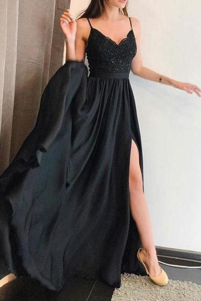 Full Length Black Spaghetti Straps Side Split Evening Gown Prom Dress