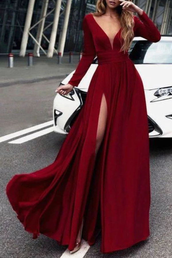 Full Length Burgundy Long Sleeves Evening Gown With Slit