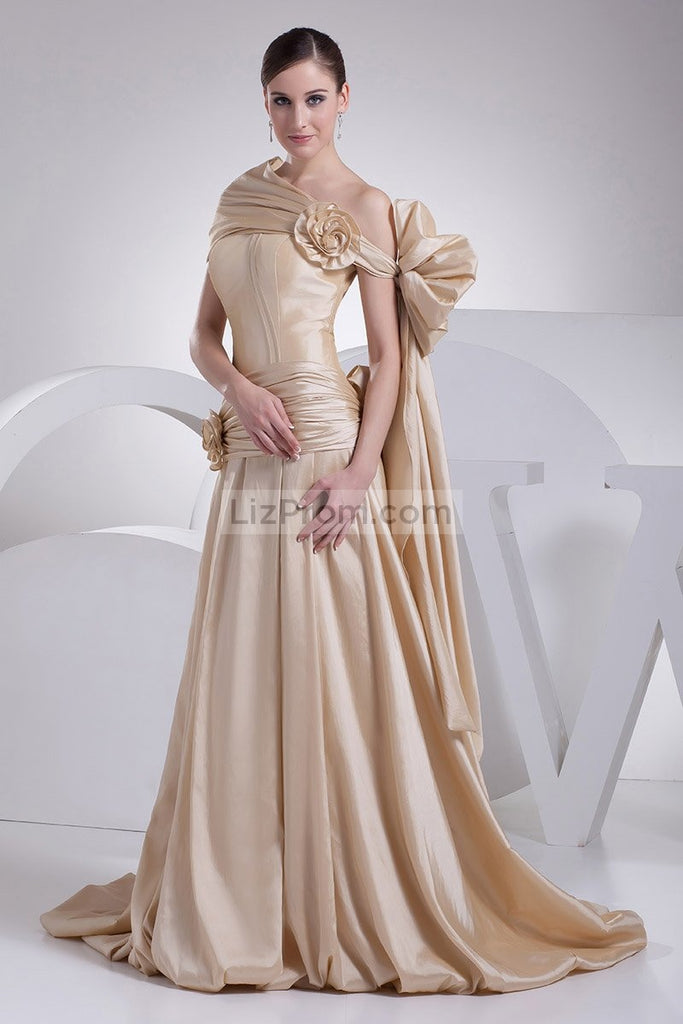 Gold Off-the-Shoulder Ball Gown Flower For Wedding