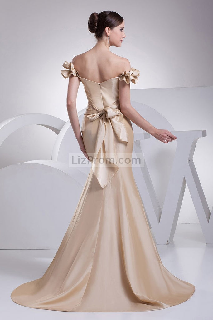 Gold Off-the-Shoulder Sweetheart Mermaid Prom Dress