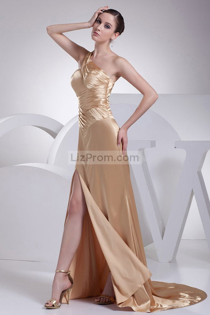 Gold One Shoulder Thigh High Slit Prom Dress