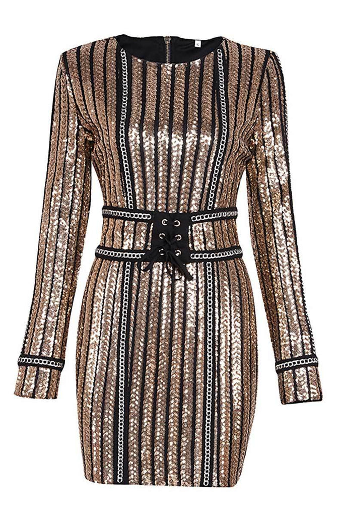 Gold Sequin Short Bodycon Dress With Long Sleeves