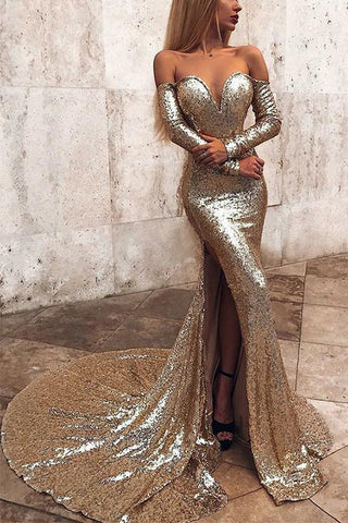 Gold Mermaid Off The Shoulder Slit Long Sleeves Prom Dress