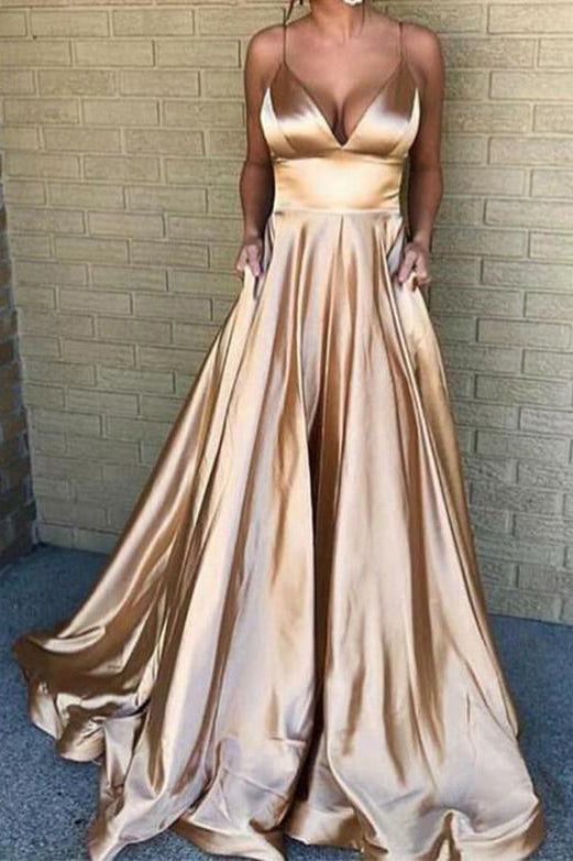 Gold V-neck Spaghetti Straps A-line Ruffled Evening Prom Dress