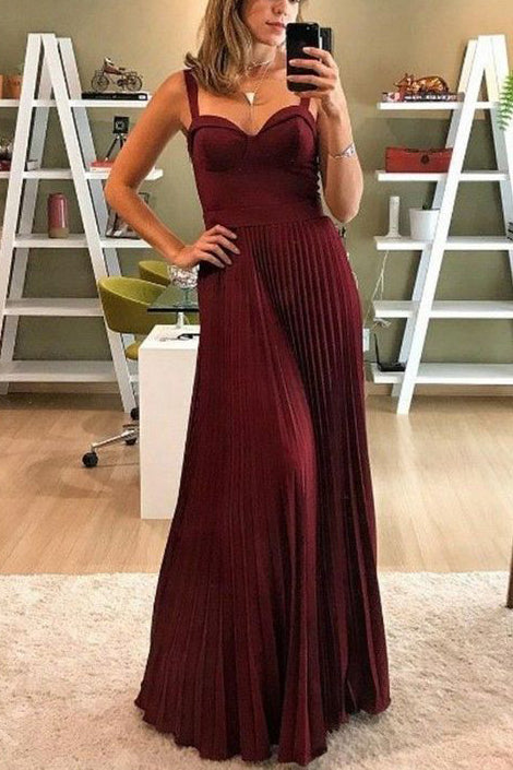 Gorgeous Burgundy Sweetheart Pleated Formal Dresses Evening Gown