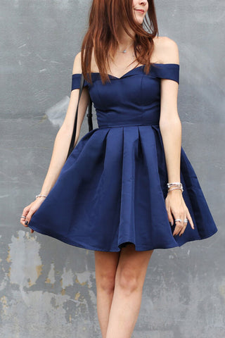 Mini Short Off the Shoulder Fit And Flare Navy Blue Party Homecoming Dress