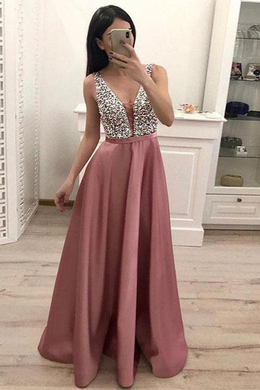 Gorgeous V-neck Beaded Matte Satin Evening Prom Dress