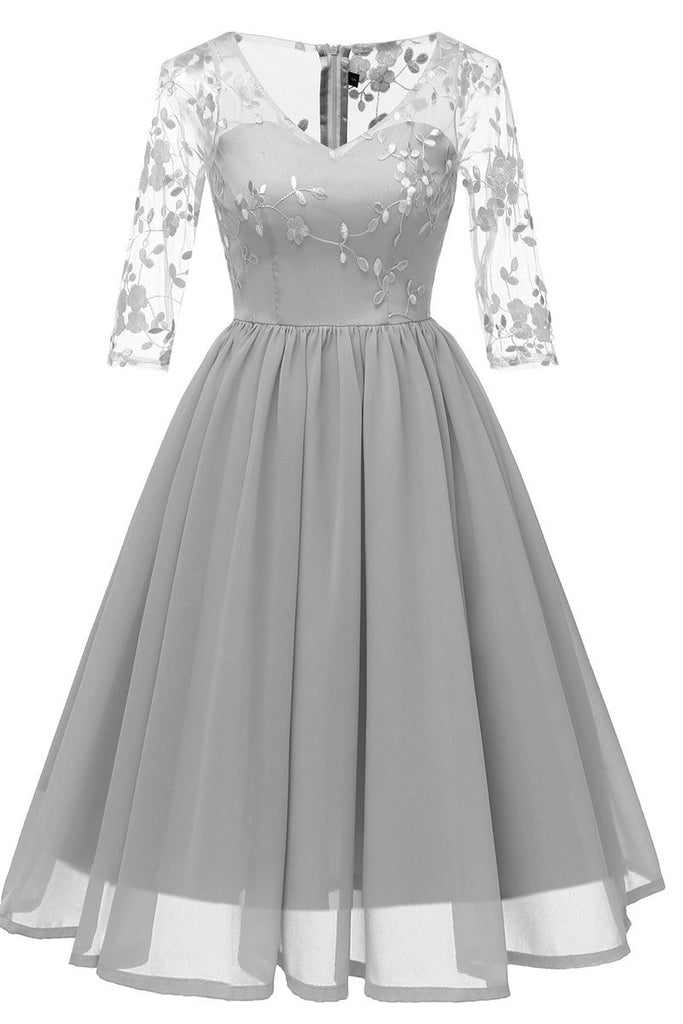 Gray V-neck A-line Applique Prom Dress With Sleeves