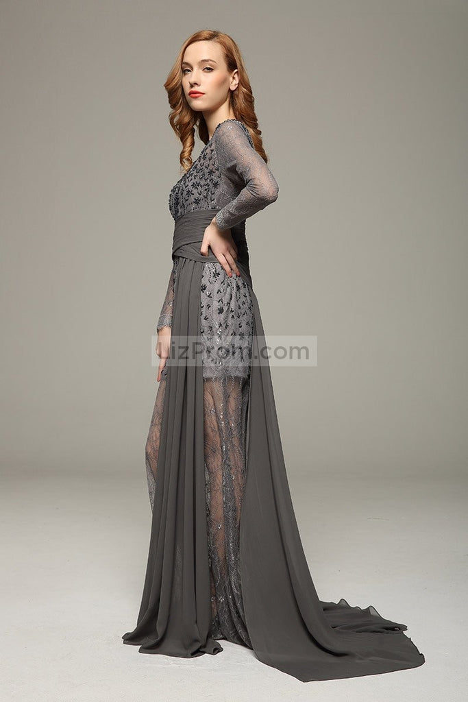 Gray V-neck Beaded Lace Prom Wedding Dress With Long Sleeves