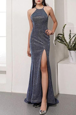 Gray Halter Mermaid Split Front Sequined Evening Prom Dress