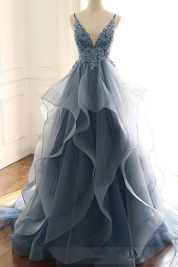 Gray Luxury Applique V-neck Wedding Ruffled Dress