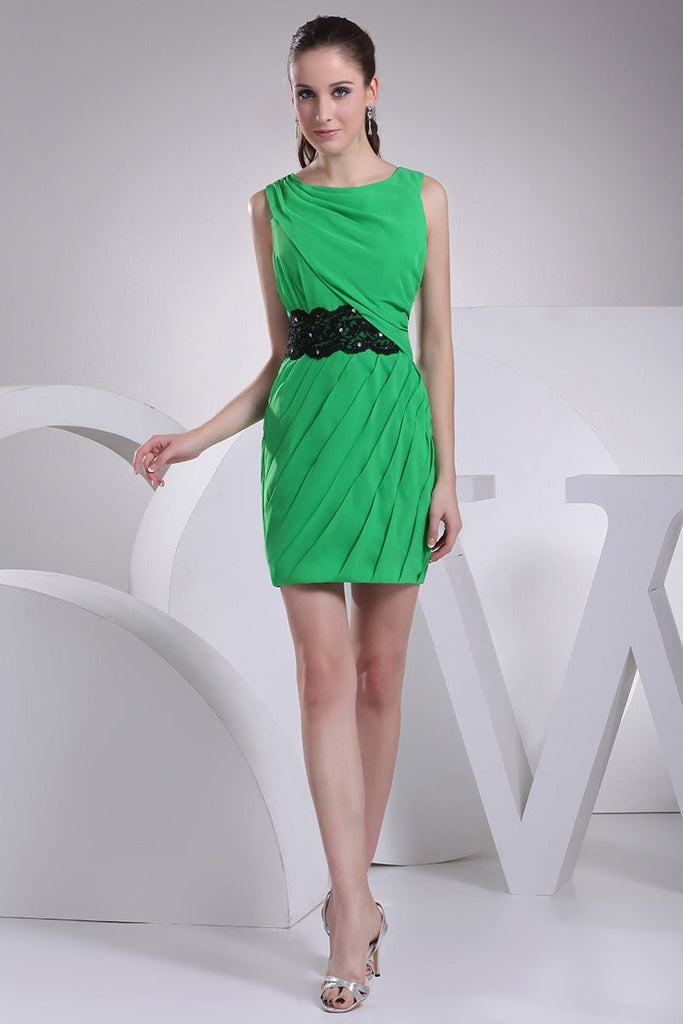 Green Appliques Sheath Ruffled Short Sexy Dress