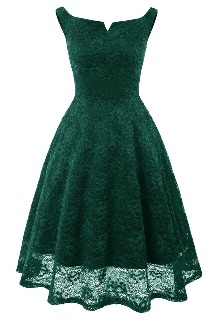 Green Off-the-shoulder Lace Homecoming Prom Dress