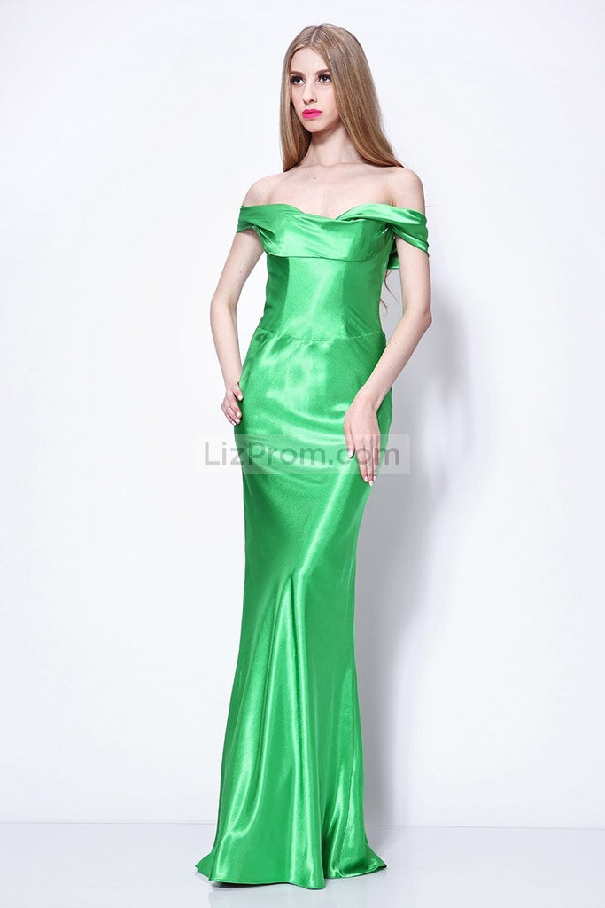 Green Off-the-Shoulder Mermaid Floor Length Prom Dress