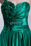 Green One Shoulder Ruffled A-line Prom Dress