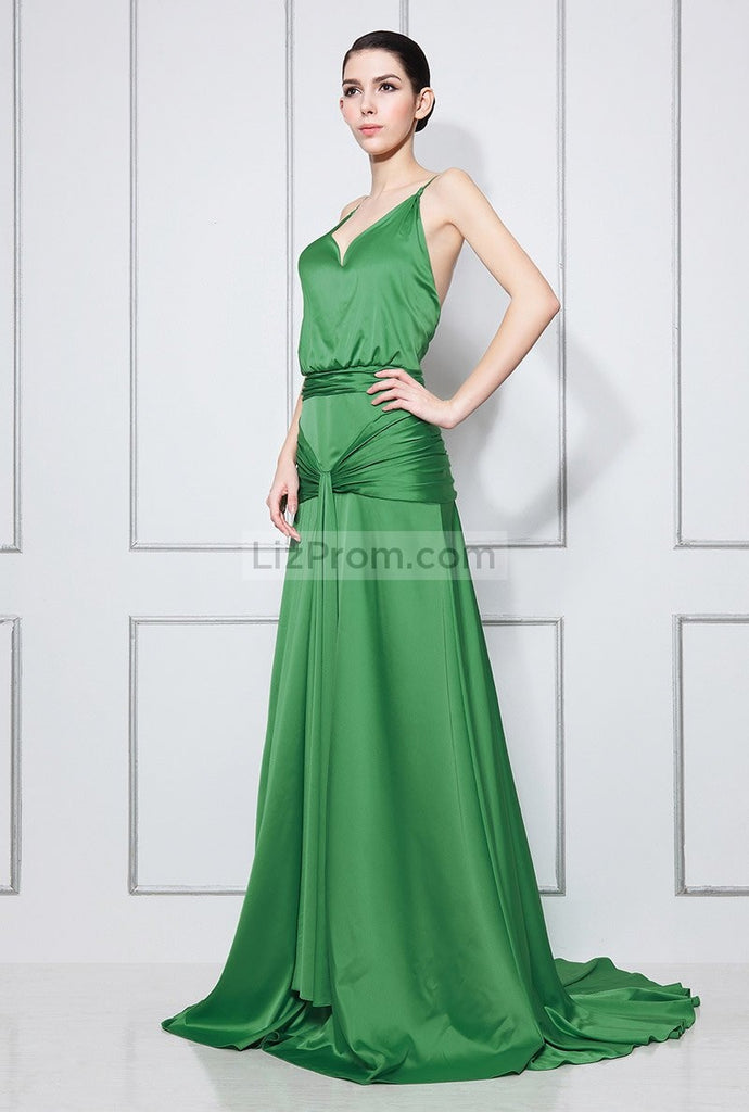 Green V-neck Spaghetti Strap Ruffled Long Prom Dress