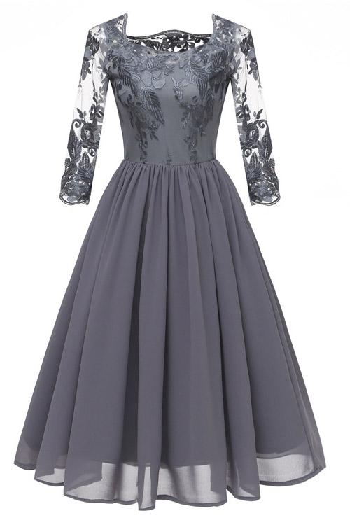 Grey A-line Applique Homecoming Dress With 3/4 Sleeves