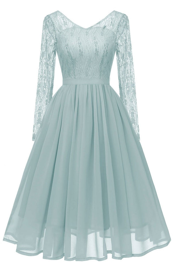 Grey Blue V-neck Lace A-line Prom Dress With Long Sleeves