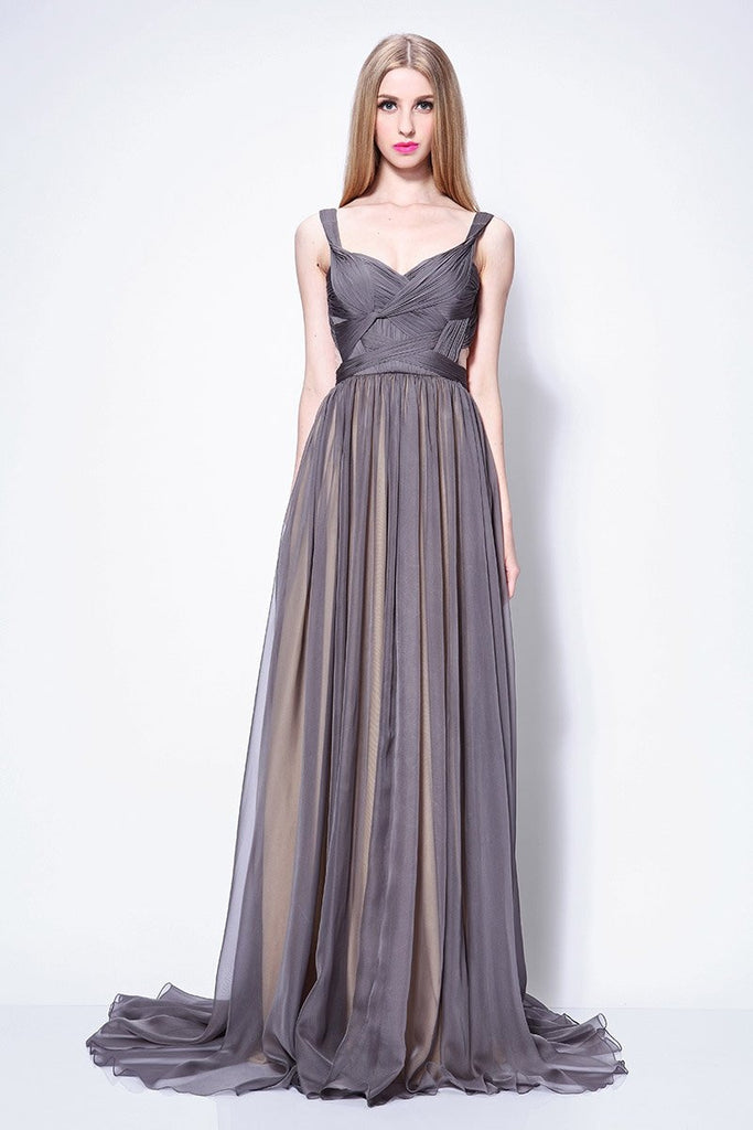 Gray Open Back Chiffon Bridesmaid Wedding Guest Dress