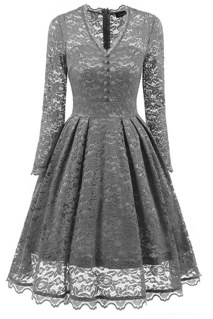 Dark Navy V-neck Lace Homecoming Dress With Long Sleeves