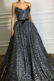 Grey Sequined Sweetheart Strapless Belt A-line Evening Prom Dress