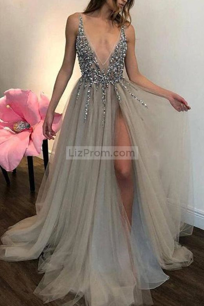 Grey Sexy Deep V-Neck High Split Tulle Beaded Evening Prom Dress Dresses