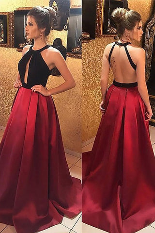 Two Tones Backless Cut Out A-line Ball Gown