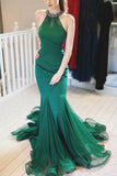 Hunter Mermaid Beaded Ruffled Halter Tulle Long Prom Dress