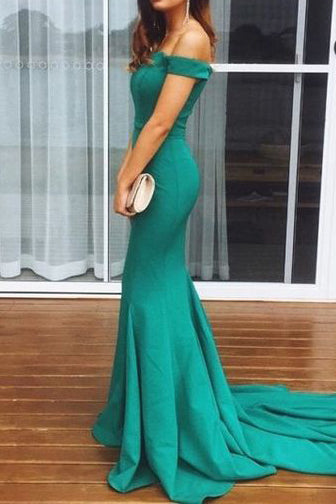 Hunter Mermaid Off-the-Shoulder Long Evening Gown Prom Dress