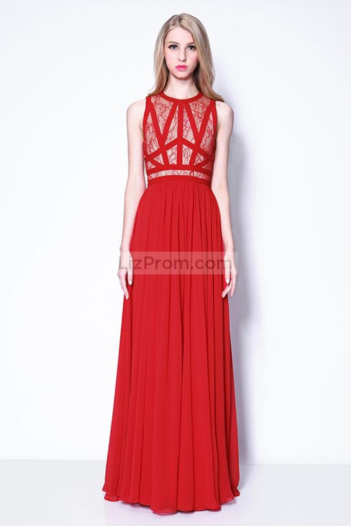 Red Scoop Sleeveless Prom Bridesmaid Dress
